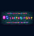 80s retro alphabet font vector image vector image