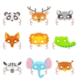 Animal Paper Masks Set Of Icons vector image vector image