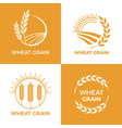 baked wheat logo field wheats grain label bake vector image vector image