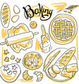 beautiful hand-draw set of baking vector image vector image