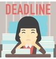 Business woman having problem with deadline vector image vector image