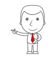 businessman line cartoon pointing his finger vector image vector image