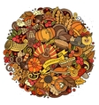 Cartoon Doodle Thanksgiving Day circle vector image vector image