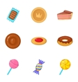 Confectionery and desserts icons set cartoon style vector image vector image