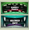 creepy halloween party banners scary zombie vector image vector image