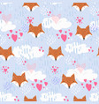 cute pattern with fox heads and hearts in sky vector image vector image