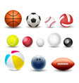 different sport balls 3d realistic set vector image