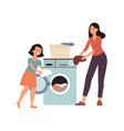 family scene a daughter helps her mother at home vector image