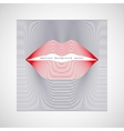female lips of red lines vector image