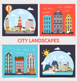 flat city landscape square concept vector image