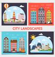 flat city landscape square concept vector image vector image