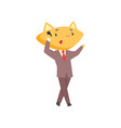 funny businessman fox in a suit standing and vector image