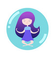 girl meditating in soap bubble vector image