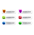 glossy download buttons set vector image vector image