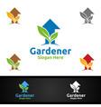 growth gardener logo with green garden vector image vector image