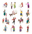 gypsies isometric icons set vector image vector image