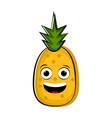 happy pineeapple cartoon character emote vector image