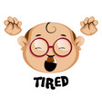 human emoji with tired expression on white vector image vector image