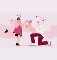 kneeling man in love makes marriage proposal vector image