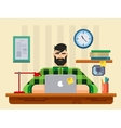 man at a desk in front laptop vector image vector image