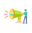 man holding loudspeaker male and megaphone vector image