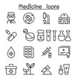 medicine icon set in thin line style vector image