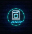 neon glowing laundry signboard in circle frame vector image