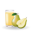 pear juice with whole pear and a half vector image vector image