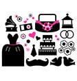 Retro wedding items and design elements vector image vector image