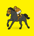 riding horse race horse jockey equestrian vector image
