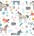 seamless childish pattern with colorful zebras vector image vector image