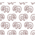 seamless pattern of brown line art elephant vector image vector image