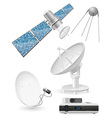 set icons satellite broadcasting vector image vector image