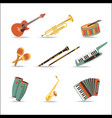 set music instruments flat style design vector image vector image