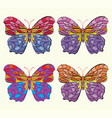 set of embroidery pattern with butterfly on white vector image vector image