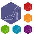 shoe icons hexahedron vector image vector image