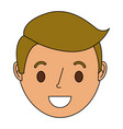smiling young face boy cartoon character vector image