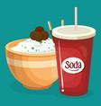 soda with rice fast food menu vector image vector image