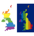 spectrum pixel dotted united kingdom map vector image