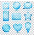 Transparent blue glass shapes vector image vector image
