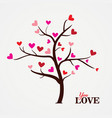 tree with paper leaves and hanging hearts love vector image vector image