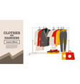 womans clothes hanging on hangers gift boxes and vector image