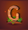 wooden letter g decorated with grass vector image vector image