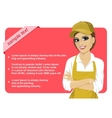 working woman wearing overall with red banner vector image vector image