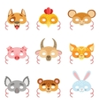 Animal Paper Masks Set Of Items vector image vector image