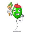 artist green balloon cartoon birthday very funny vector image