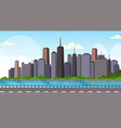 asphalt highway road over beautiful river city vector image vector image