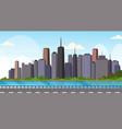 asphalt highway road over beautiful river city vector image vector image