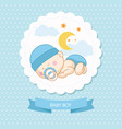 baby new born boy blue card shower template vector image