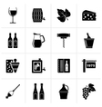 Black Wine industry objects icons vector image